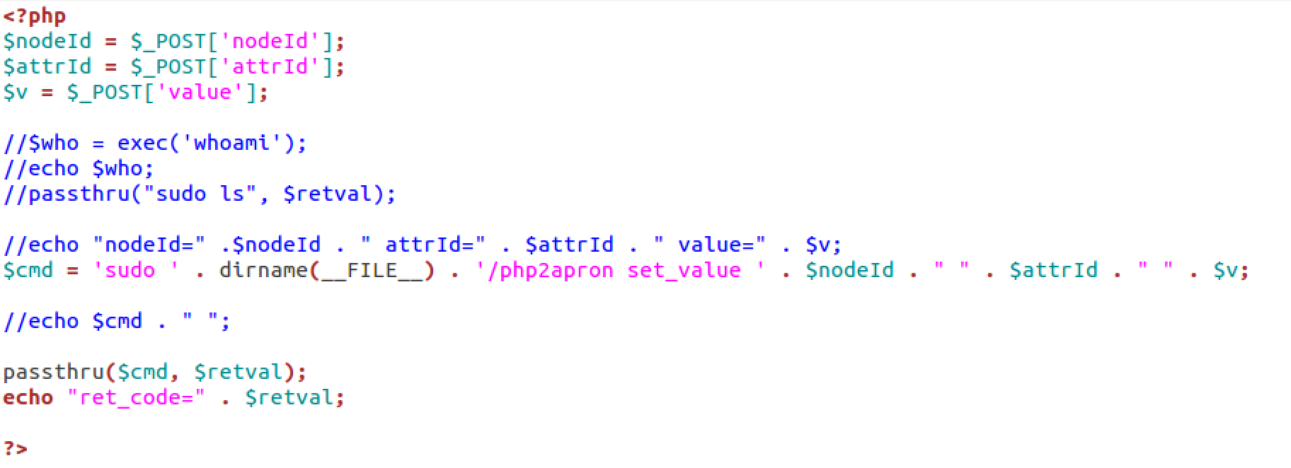 source code of /set_dev_value.php vulnerability