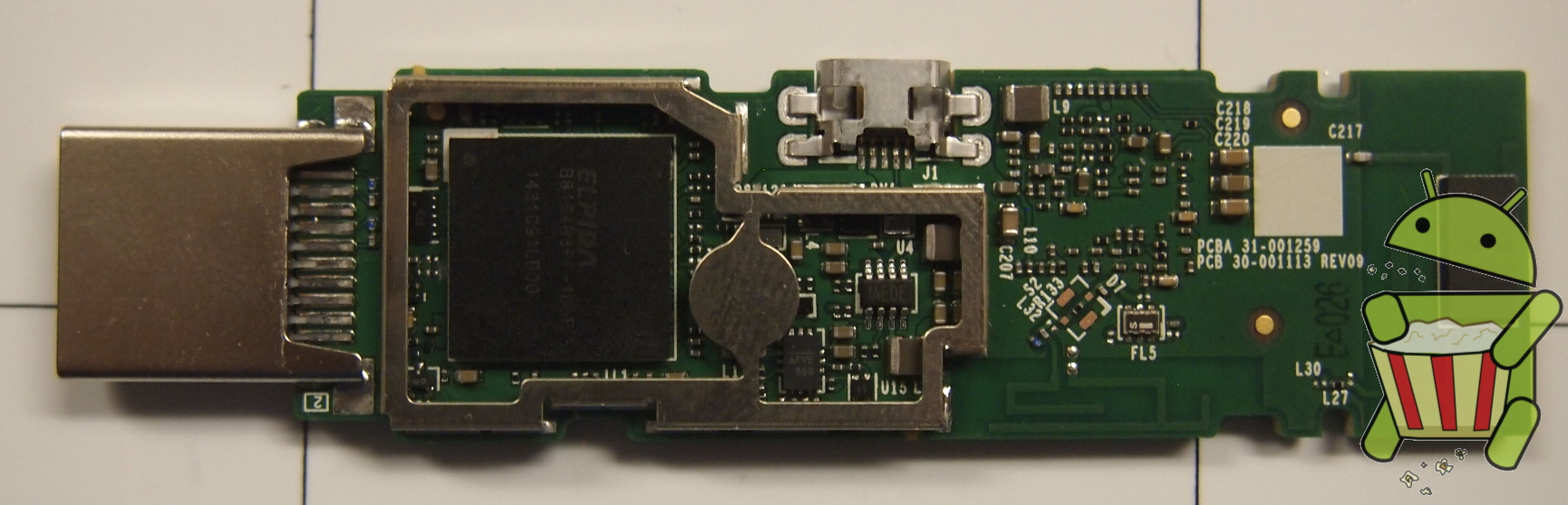 Amazon Fire TV Stick Board Top Pads Removed Heatshield Removed No Pads.JPG